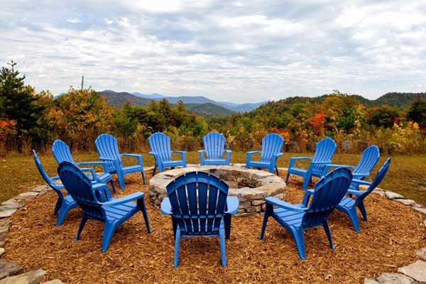 Fire pit with blue chairs